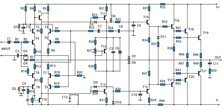 high power amplifier circuit 2800w circuit schematic electronics