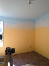 Paint walls yellow, paint ceiling and top of wall blue ...