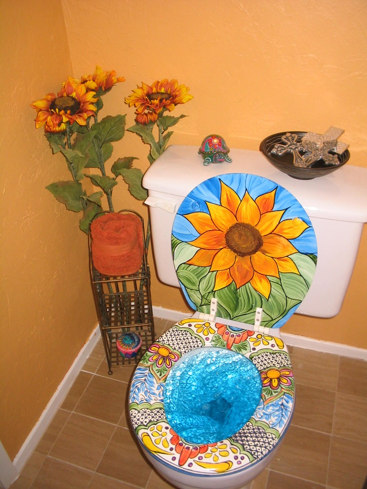 Mexican Talavera Inspired Painted Toilet Seat And Lid The