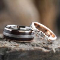 Meteorite Wedding Ring Set, Moissanite Engagement Ring ...