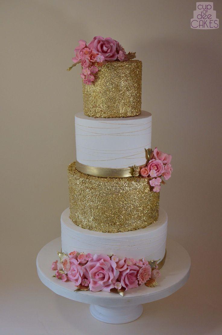 fake wedding cakes fake wedding cakes gold glitter sparkle cake with pink roses