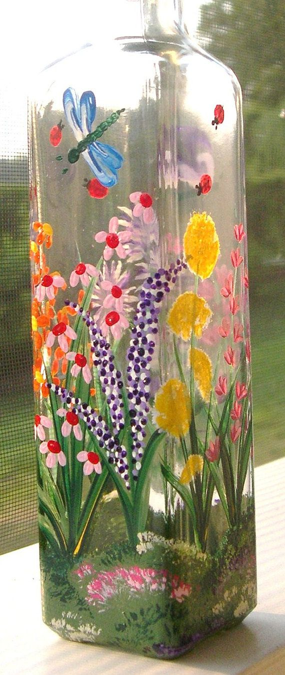 1000+ Ideas About Painted Glass Bottles On Pinterest | Painted