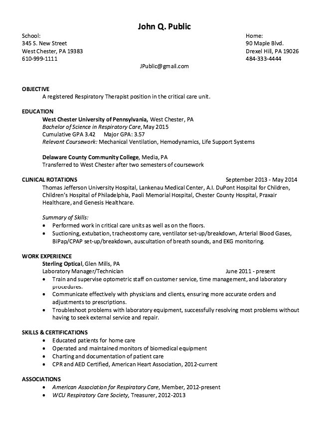 sample respiratory therapist resume template