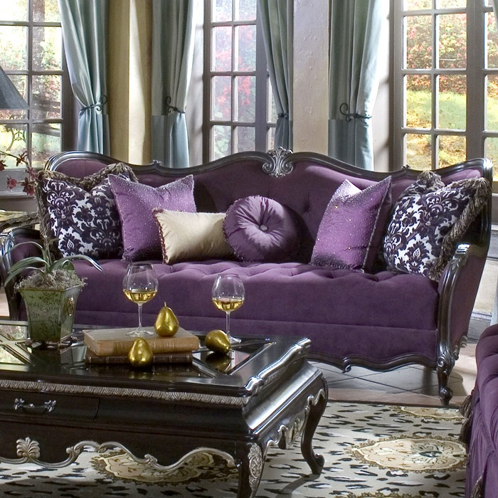 Purple Tufted Sofa So So Glam Where The Heart Is