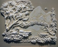 Mt.Hood and Lost Lake Oregon. Architectural Relief,Plaster ...