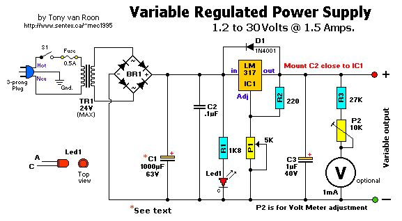 lm317t variable voltage regulator electronic circuit diagram