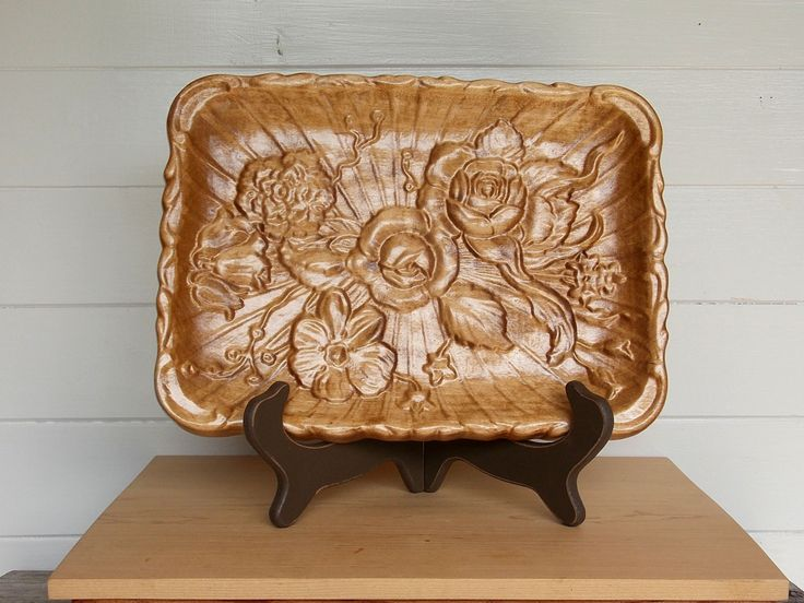 Decorative Tray Flowers/Serving Tray Wood/Coffee Table