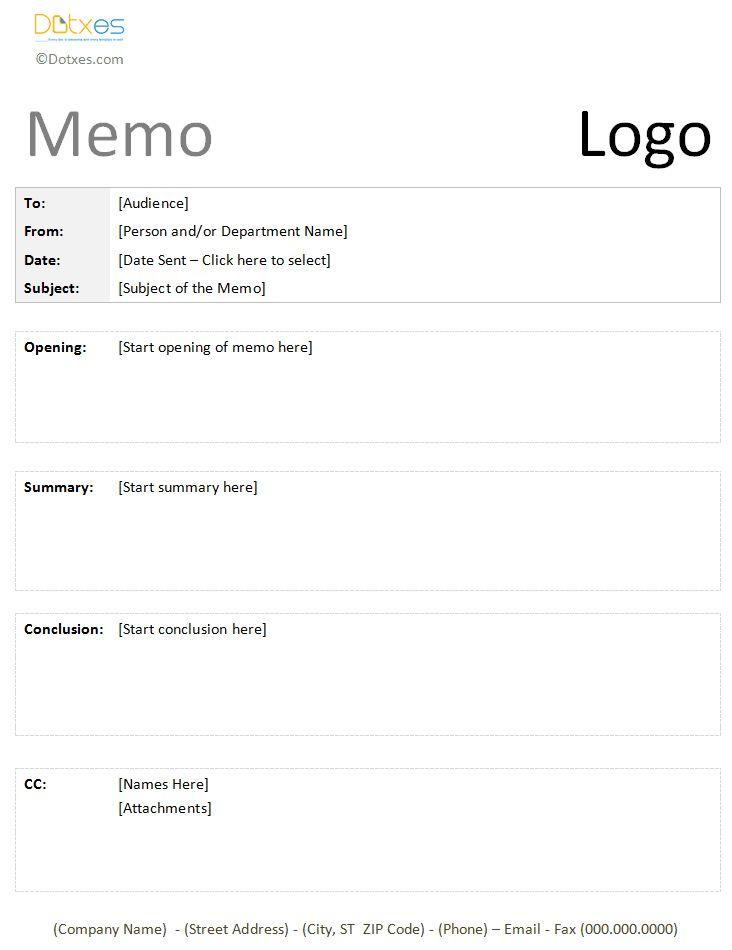Formal Memo Template Memo Templates   Dotxes Pinterest   Formal Memorandum  Template