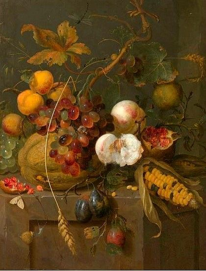 Pink Grapefruit Jan Mortel Still Life With Fruit And Insects 1700 | Art