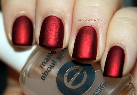 Kleancolor Metallic Red With 1 Coat Of Essie Matte About