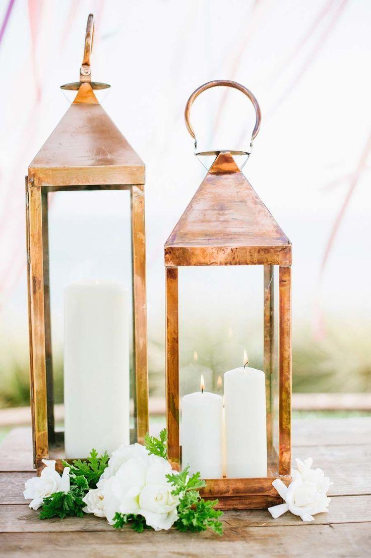gold lanterns lanterns for weddings 5 Ways to Bring Your Rose Gold Wedding to Life