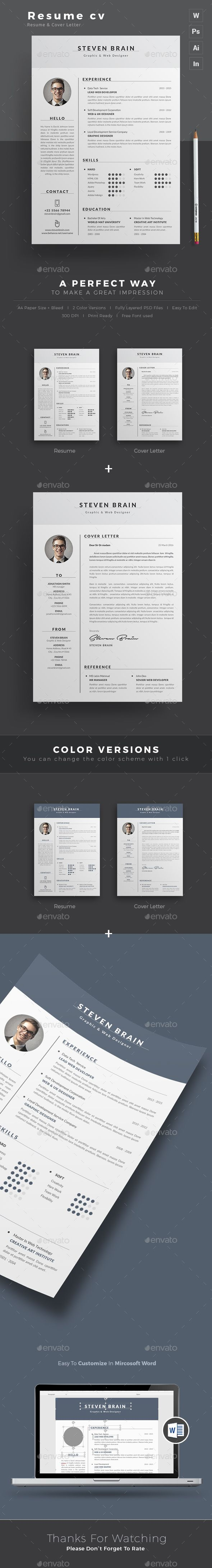 template cv photoshop et cover