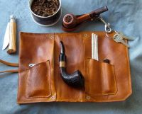 Leather Pipe & Tobacco Pouch in British Tan | The ...