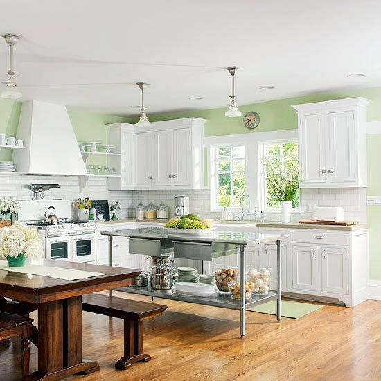 Gree N White Combination For Kitchen Cabinets Kitchen Green Walls White Cabinets | Kitchen Ideas