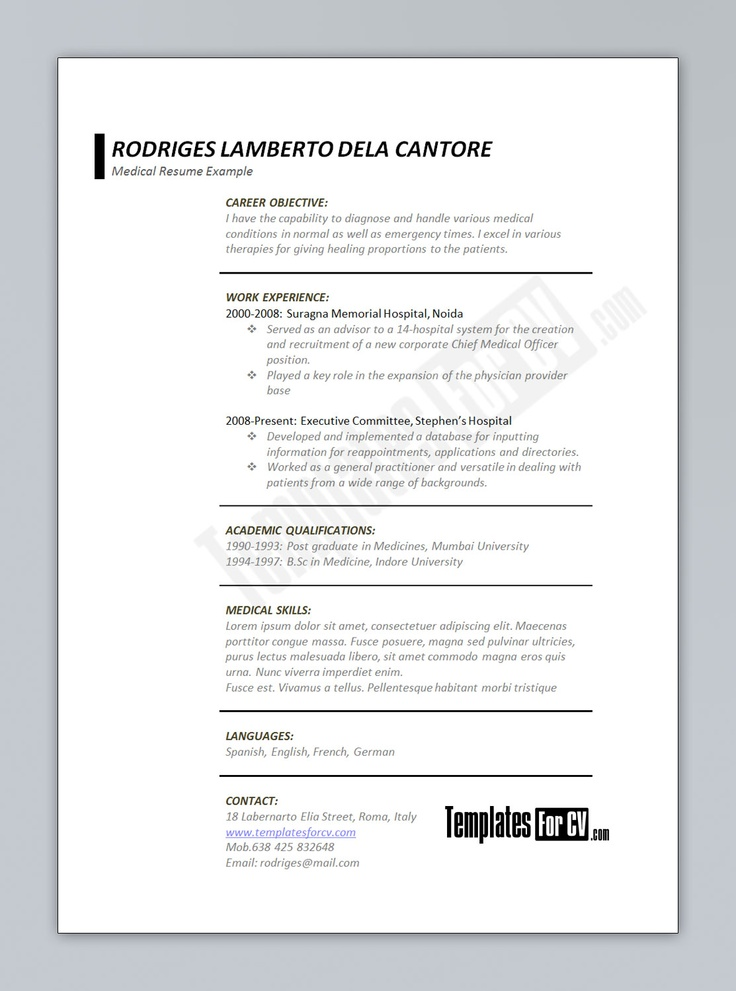 medical cv template download