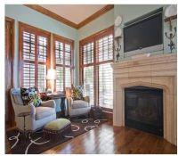 Natural wood trim. Pale blue walls. | Interior paint ...