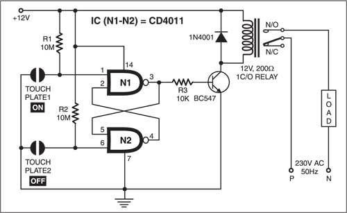 touch switch using cd4011