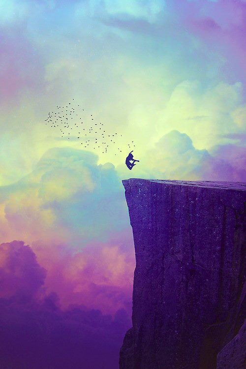 Dreaming About Wallpaper Falling Off Cliff Silhouette Of Girl Jumping Color Art When I Fall In