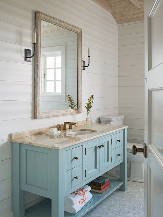 Beach Style Bathroom Vanity Turquoise Bathroom Vanity, Cottage, Bathroom, Dearborn