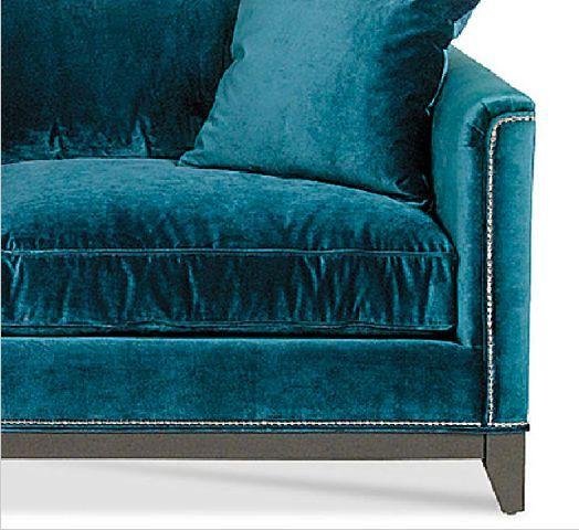 saucyhelp: Teal velvet sofa detail
