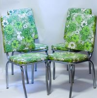 Mid Century Chrome Kitchen Chairs 1960s Green Floral Vinyl ...