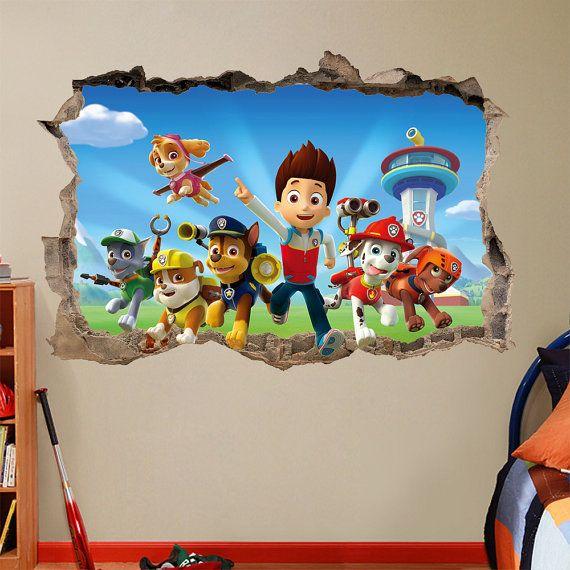 3d Wallpaper For Kid Bedroom Paw Patrol 3d Wall Sticker Smashed Bedroom Kids Decor