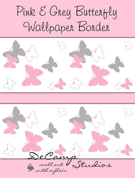 Wallpaper Ideas For Baby Girl Nursery Pink And Grey Butterfly Wallpaper Border Wall Art Decals