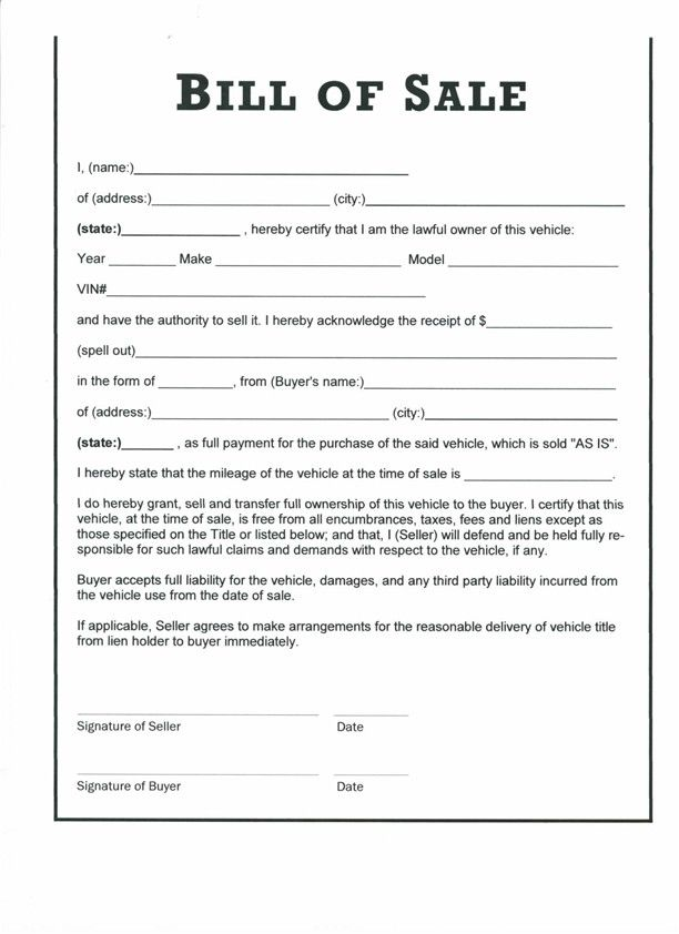 Bill Of Sale Form Free Bill Of Sale Template Us Lawdepot Vehicle Bill Of Sale Template Free Printable Documents