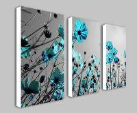 Details about Teal Flowers Floral Split Panel Deep Framed ...