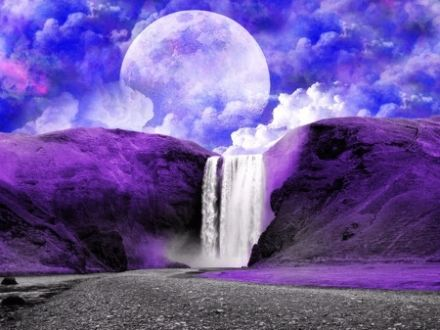 3d Name Wallpaper Editor Online Purple Waterfall Waterfall Purple Fantasy Cloud Moon