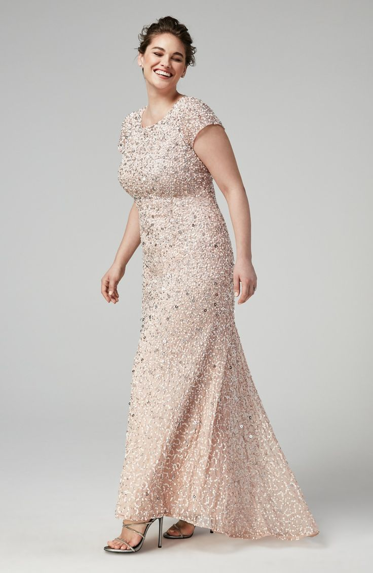 mother of the bride or groom mother wedding dresses Embellished Scoop Back Gown with Blush All over Sequins and short sleeves Designed by