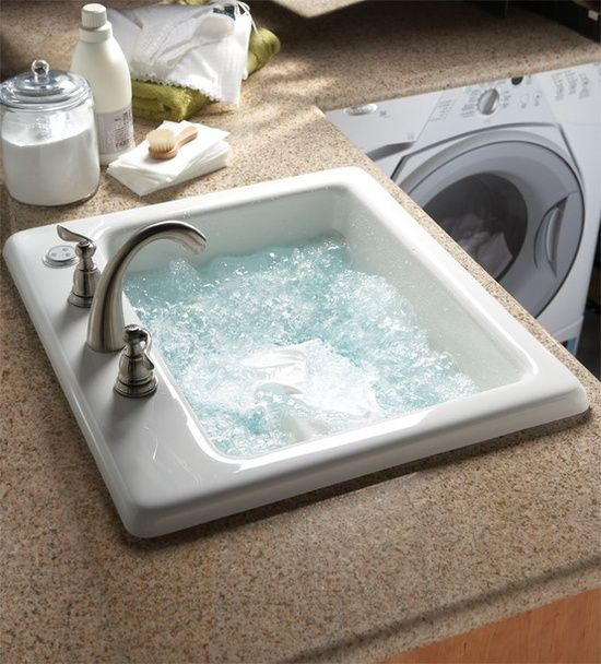 A sink in the laundry room with jets so you can wash delicates without destroying them! Brilliant!: