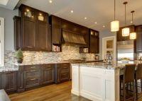Dark cabinets, white island | Dark kitchen | Pinterest ...