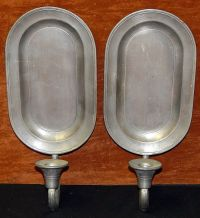Pair Vintage Colonial Casting Co Pewter Wall Sconces ...