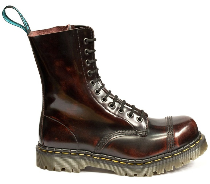 Solovair Burgundy Rub Off Leather Boot With Steel Toe