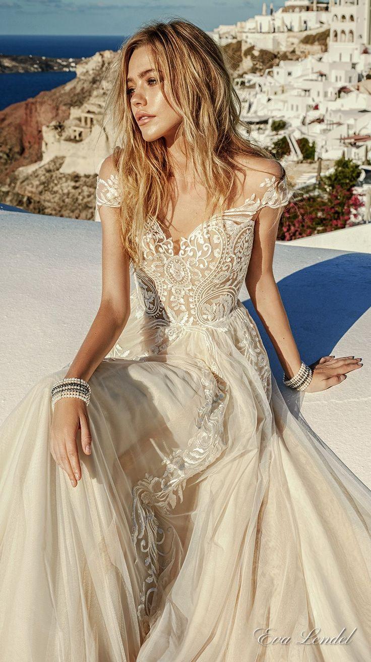 champagne beige nude coffee coloured or taupe wedd ivory wedding dress Eva Lendel Wedding Dresses Santorini Bridal Campaign