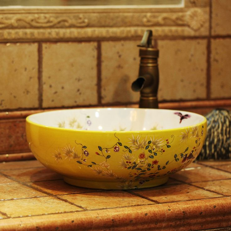 Beautiful Bathroom Decoration With Round Floral Porcelain