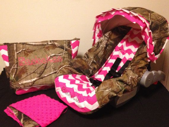 Babies Car Seat Covers 3 Piece Set Pink Chevron Realtree Camo By