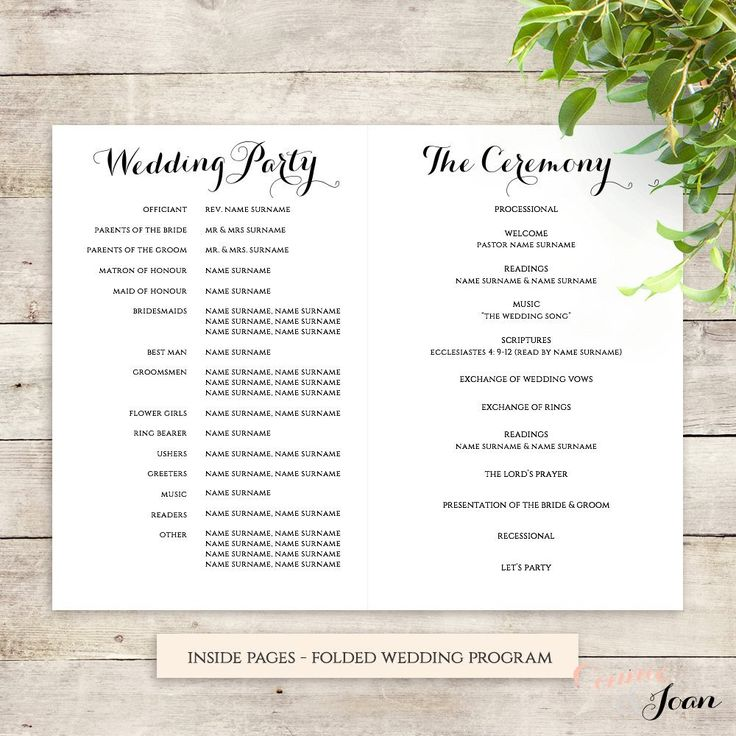 wedding ceremony pamphlet templates