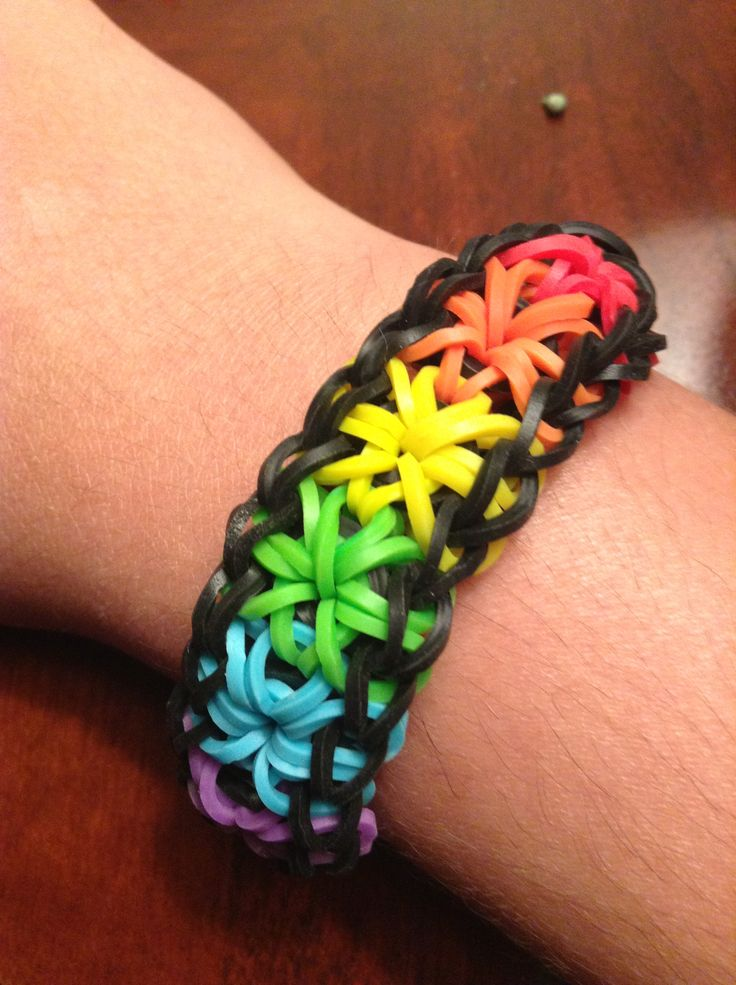 Rainbow Starburst Rubber Band Bracelet Rainbow Looms I