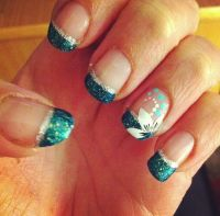 Teal flower French tip nails   My Nail Art   Pinterest ...