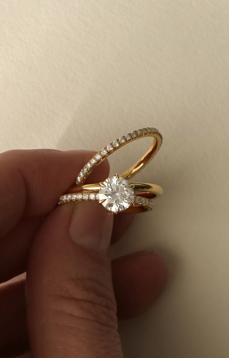 gold engagement rings yellow gold wedding rings VOW Vrai Oro Wedding Solitaire Engagement Ring Modern simple diamond ring available