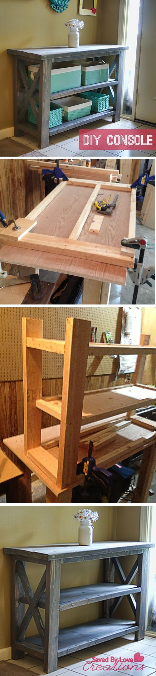 rustic console tables kitchen console table Rustic Console Table woodworking DIY plan from Ana White I need a place to