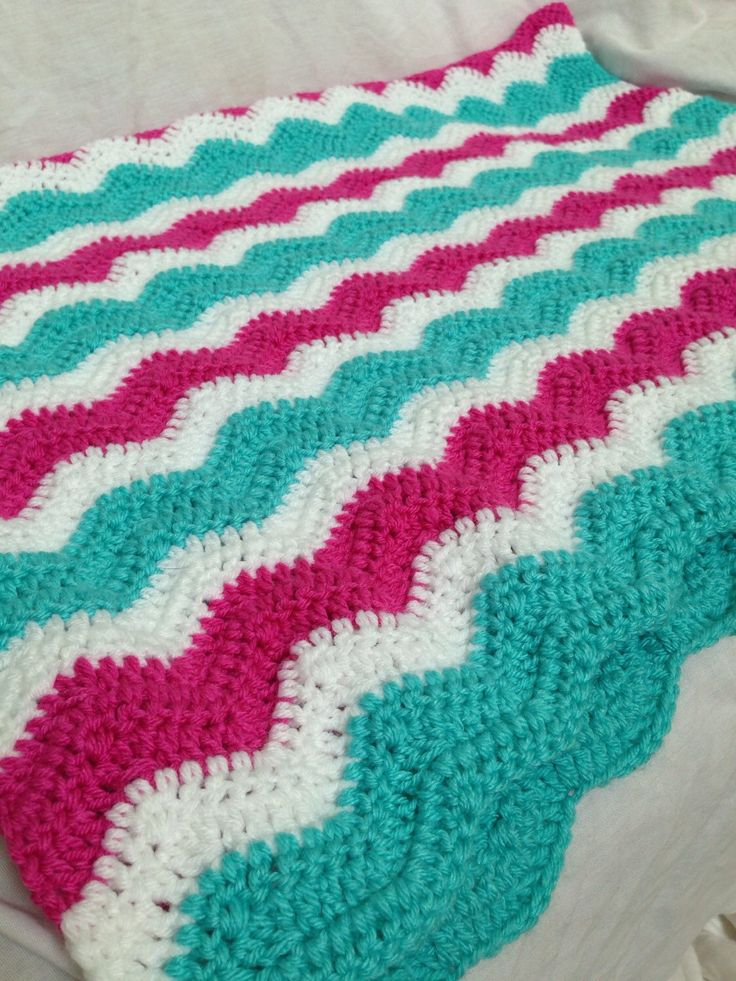 Magenta And Turquoise Crochet Blanket Baby Girl Baby