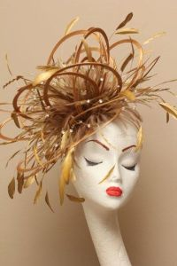 Large Gold Diamante Feather Fascinator Hat - wedding ...