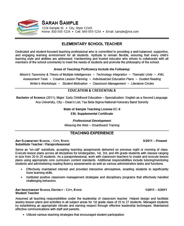 Curriculum Vitae For Kindergarten Teachers College Of Education And Communications Education And Elementary School Teacher Resume Example Teacher Resumes