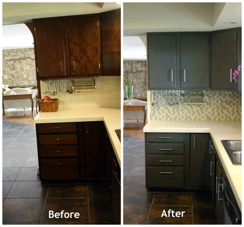 Yellow Kitchen With Dark Brown Cabinets Brown Cabinets Turned Grey- Love This Makeover #
