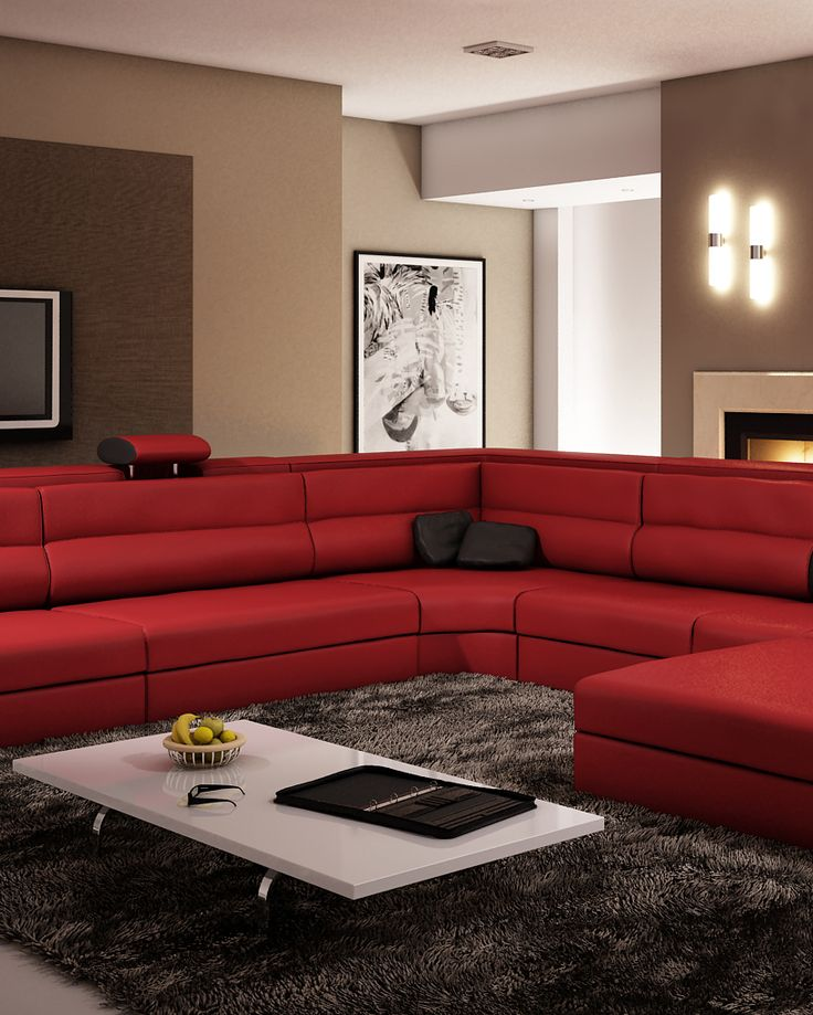 divani casa polaris dark red bonded leather sectional sofa