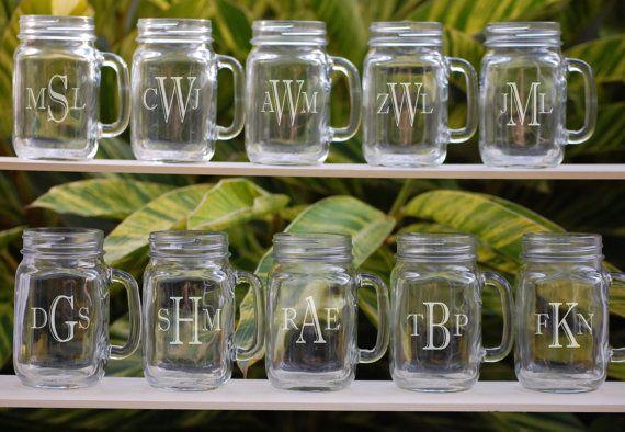 monogrammed mason jar glasses