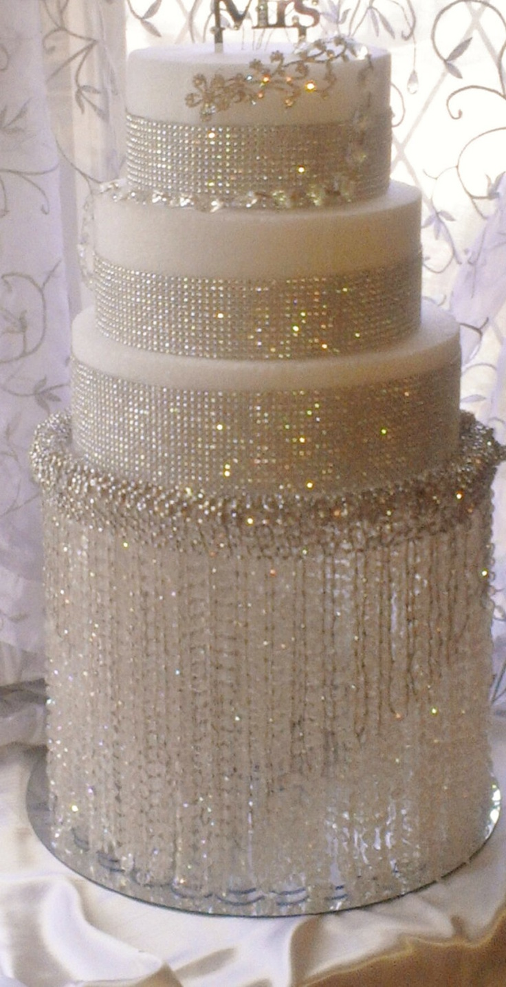 wedding cakes bling fake wedding cakes Love the Crystal Waterfall cake stand Bling Cake on Crystal Waterfall Cake Stand